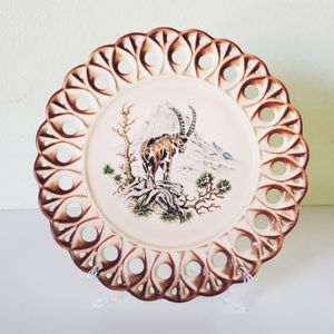Vintage, plate, African Mountain, Ram, jungalow
